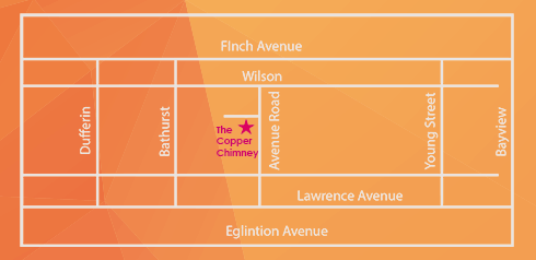 Location map of The Copper Chimney